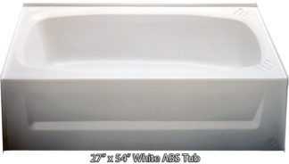 Bathtub 27 x 54 White ABS Tub Left Hand Drain