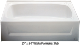 Bathtub 27 x 54 White Permalux  Tub Left Hand Drain
