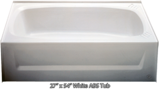 Bathtub 27 x 54 White ABS Tub Right Hand Drain