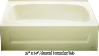 Bathtub 27 x 54 Almond ABS Tub Left Hand Drain