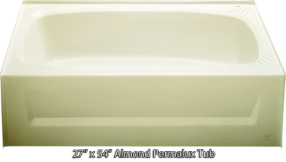 Bathtub 27 x 54 Almond Permalux Tub Left Hand Drain