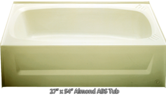 Bathtub 27 x 54 Almond ABS Tub Right Hand Drain