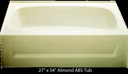 Bathtub 27 x 54 Almond ABS Tub Right Hand Drain