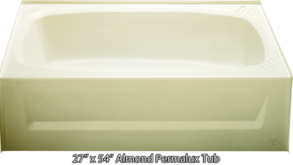 Bathtub 27 x 54 Almond Permalux Tub Right Hand Drain