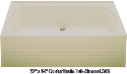 "Bathtub 30"" x 60"" Almond ABS Center Drain Tub"