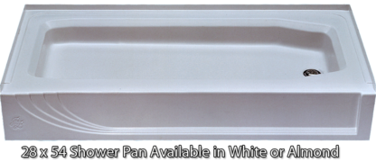"Better Bath 28"" x 54"" Shower Pan Almond ABS Left Hand Drain"