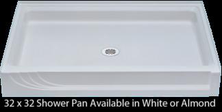 "Better Bath 32"" x 32"" White ABS Shower Pan"