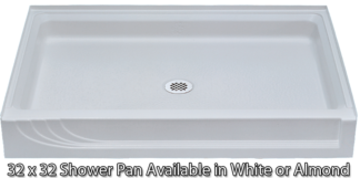 "Better Bath 32"" x 32"" Almond ABS Shower Pan"