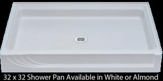 """Better Bath 32"""" x 32"""" Almond ABS Shower Pan"""