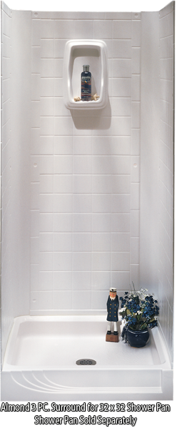 """Better Bath 3 piece Shower Surround Almond 32""""x 32"""" Shower Pan"""
