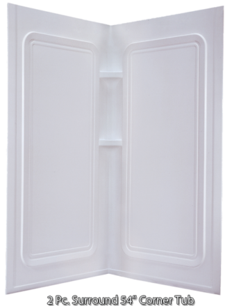 "Better Bath 2 piece Surround for a 54"" x 54"" Corner Tub White"