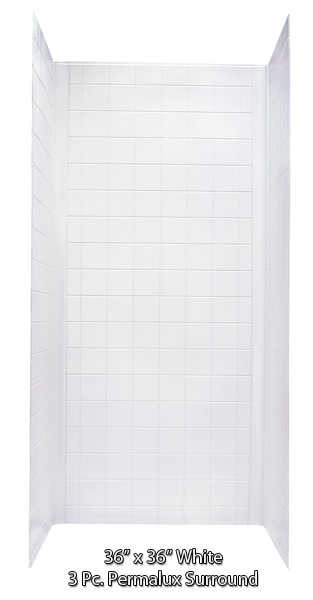 "Better Bath White ABS Surround for 36""x36"" Shower Pans Tile Fin."