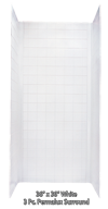 """Better Bath White ABS Surround for 36""""x36"""" Shower Pans Tile Fin."""