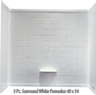 3 Piece Surround White Permalux Tile Finish for 40x54 Garden Tub