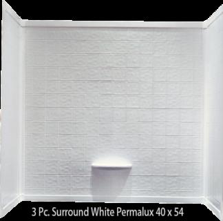 3 Piece Surround White Permalux Tile Finish for 40x54 Garden Tub