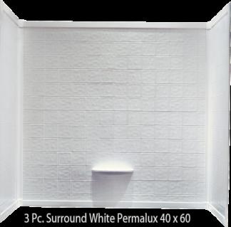 3 Piece Surround White Permalux Tile Finish For 40×60 Garden Tub