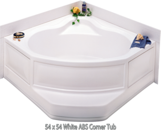 "Better Bath White ABS Corner Tub Center Drain 54"" x 54"""