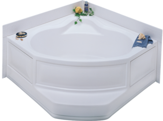 "White Corner Tub R/H Drain Permalux Finish 54""x 54"" With Apron"