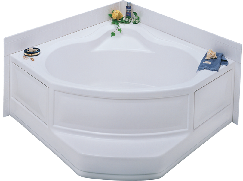 Better Bath White corner tub right hand drain Permalux Finish 54\