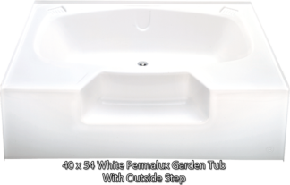 "Better Bath White Permalux Garden Tub W/Outside Step 40"" x 54"""
