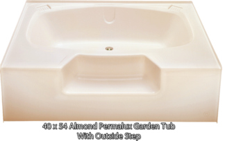 "Better Bath Almond Permalux Garden Tub Outside Step 40"" x 54"""