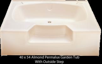 "Better Bath Almond Permalux Garden Tub Outside Step 40"" x 54"""