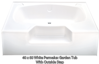 "Better Bath White Permalux Garden Tub Outside Step 40"" x 60"""