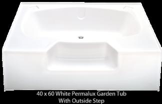 Better Bath White Permalux Garden Tub Outside Step 40u2033 X 60u2033