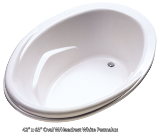 "Better Bath Oval Island Tub White Permalux Head Rest 44"" x 62"""