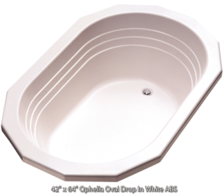 "Better Bath White Ophelia Oval Drop in Island Tub 42""x 64"""