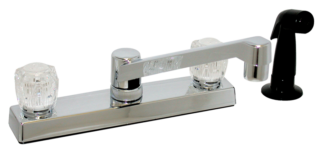 Kitchen faucet with spray plastic under body Chrome 8 inch