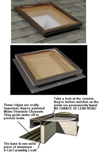 Skylight  Self flashing aluminum frame (SFAW1414) 14 in X 14 in