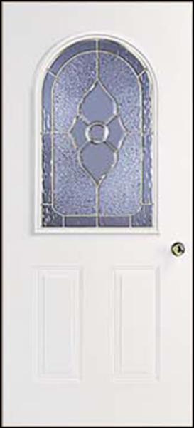 38in. x80in. L Hinge 6 panel Steel Door 4in. Jamb Roundtop glass