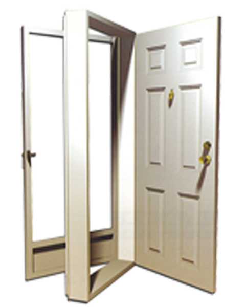 32in X 76in Left Hinge 6 Panel Steel Door 4in Jamb