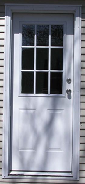 34in.X76in. R. Hinge 6 Panel Steel Door 4in. Jamb 9-Lite Window