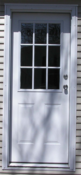 32in.X76in. L. Hinge 6 Panel Steel Door 4in. Jamb 9-Lite Window
