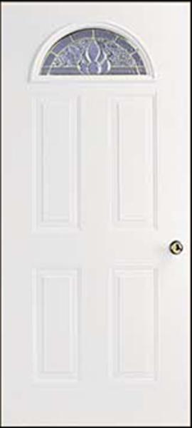"""34 x 76 Left Hinge Steel Door 6""""Jmb. Dynasty Sunburst Window"""