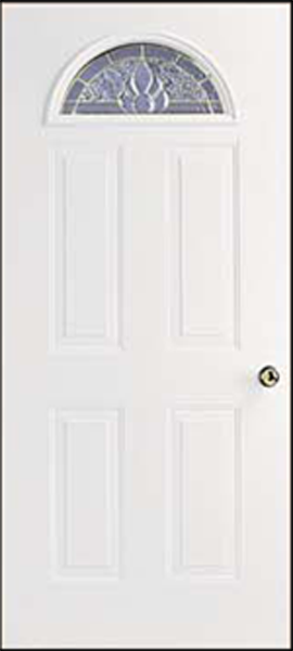 """34"""" x 80"""" Left Hinge Steel Door 4""""Jmb. W/Dynasty Sunburst Window"""