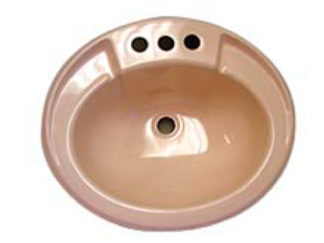"Oval Ivory Plastic Bath Sink 17"" x 20"""
