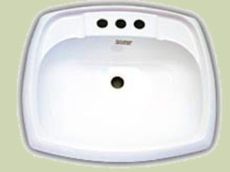 Rectangular White Plastic Bathroom Sink 17 x 20