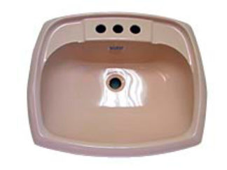 Rectangular Ivory Plastic Bathroom Sink 17 x 20