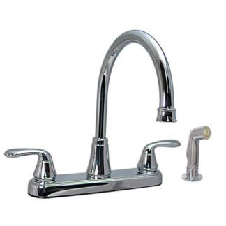 Two Handle Hybrid Hi-Arc Kitchen Faucet with Spray Chrome