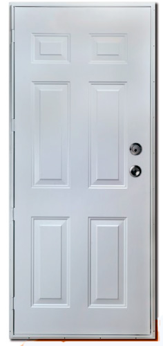 30 x 72 R/H 6-Panel Steel Outswing Door