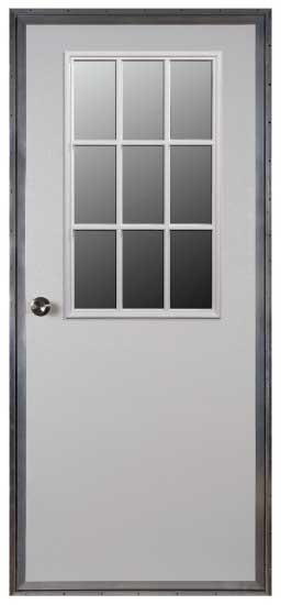 32 x 76 L/H 6-Pnl. Steel Outswing Door W/9-Lite Window