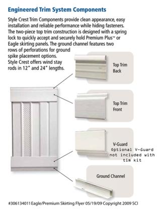 Premium Plus Vinyl Skirting trim kit white Style Crest
