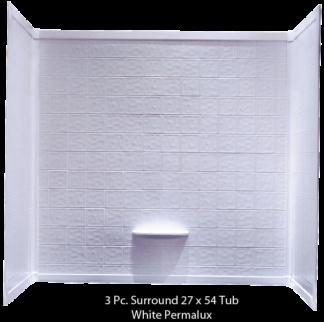 """Better Bath 3-piece  White Permalux Tub Surround Tile 27""""x54"""""""