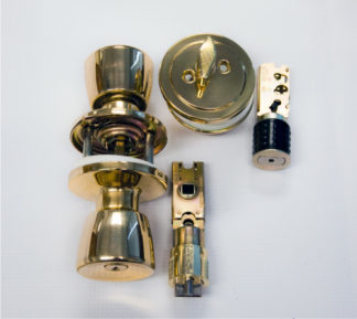 Lock and Deadbolt Combination Polished Brass