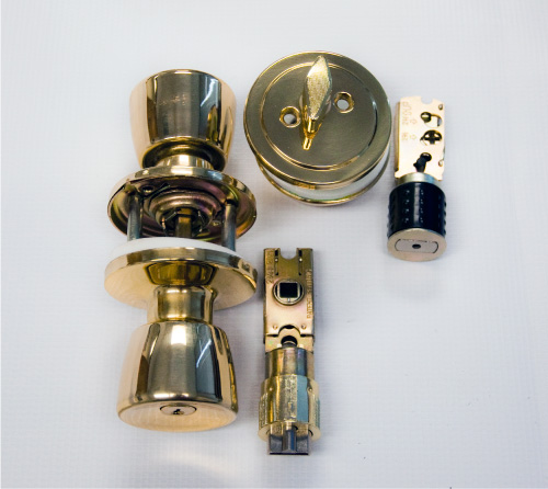 Combination Lock And Deadbolt In Polished Brass Finish