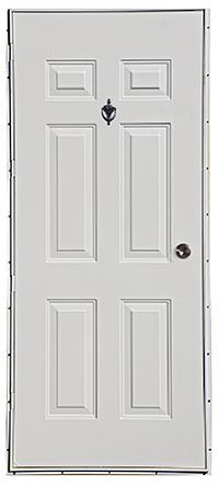 34 X 80 6 Panel Steel Outswing Door L/H Hinge No Window