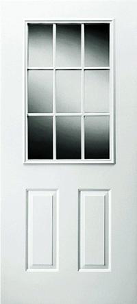 36 X 76 6-Panel Steel Outswing Door R/H Hinge With 9-Lite Window